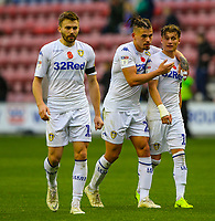 Leeds United's Kalvin Phillips celebrates with Ezgjan&nbsp;Alioski after the match<br /> <br /> Photographer Alex Dodd/CameraSport<br /> <br /> The EFL Sky Bet Championship - Wigan Athletic v Leeds United - Sunday 4th November 2018 - DW Stadium - Wigan<br /> <br /> World Copyright &copy; 2018 CameraSport. All rights reserved. 43 Linden Ave. Countesthorpe. Leicester. England. LE8 5PG - Tel: +44 (0) 116 277 4147 - admin@camerasport.com - www.camerasport.com