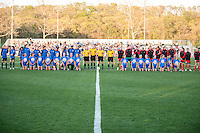 Kansas City, Mo. - Saturday April 23, 2016: Players and officials line up for the national anthem before FC Kansas City hosts Portland Thorns FC at Swope Soccer Village. The match ended in a 1-1 draw.