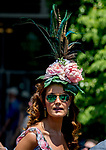 ELMONT, NY - JUNE 09: A woman wears a stylish hat on Belmont Stakes Day at Belmont Park on June 9, 2018 in Elmont, New York. (Photo by Scott Serio/Eclipse Sportswire/Getty Images)