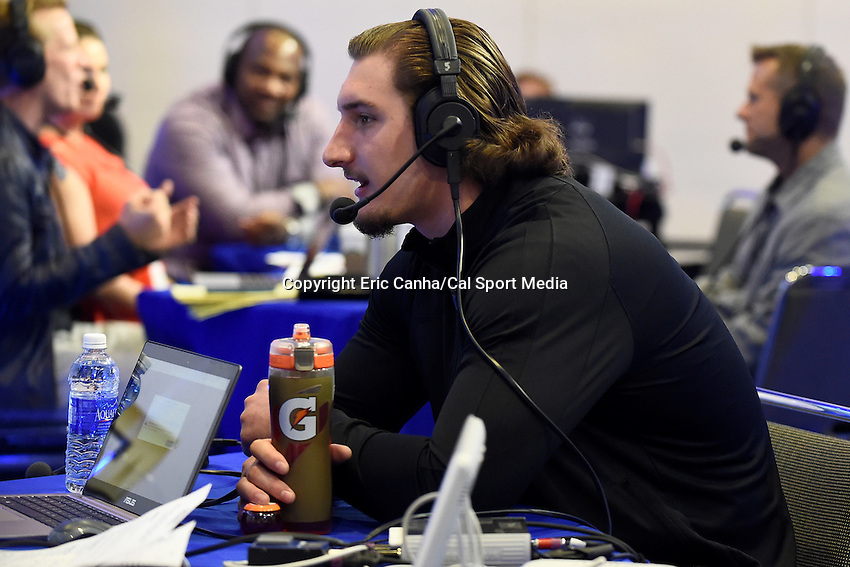 Friday, February 5, 2016: Ohio State football player Joey Bosa is interviewed on XM Radio at the Moscone Center in San Francisco, California during the National Football League week long opening celebrations for Super Bowl 50 between the Carolina Panthers and the Denver Broncos . Eric Canha/CSM
