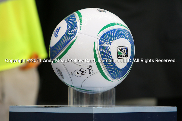 """09 June 2011: Official match ball featuring """"SKC vs CHI"""". Sporting Kansas City played the Chicago Fire to a 0-0 tie in the inaugural game at LIVESTRONG Sporting Park in Kansas City, Kansas in a 2011 regular season Major League Soccer game."""