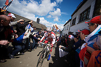 Liege-Bastogne-Liege 2012.98th edition..Katusha train on the rails