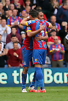 Pictured L-R: Marouane Chamakh of Crystal Palace celebrates his goal with team mate Joel Ward <br />
