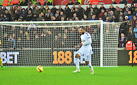 Pictured: Friday 26 December 2014<br /> Re: Premier League, Swansea City FC v Aston Villa at the Liberty Stadium, Swansea, south Wales, UK.<br /> <br /> Ashley Williams