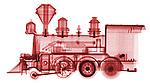 X-ray image of a steam locomotive (red on white) by Jim Wehtje, specialist in x-ray art and design images.