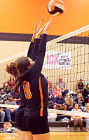 Photo by Randy Moll<br /> Haley Dawson, a Gravette junior, and Hailee Gerner, a Gravette senior, attempt to block a Gentry spike during the final regular season game against the Lady Lions at Gravette High School on Thursday (Oct. 12, 2017).