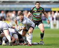 Northampton, England. Northampton Saints vs. Leicester Tigers. Ben Youngs of Leicester Tigers in action during the Northanpton Saints vs Leicester Tigers Aviva Premiership at Franklin's Gardens, Northampton, 14 April 2012