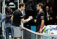 Andy Murray (GBR) and Stan Wawrinka (SUI) shake hands after the match during Day Six of the Barclays ATP World Tour Finals 2015 played at The O2, London on November 20th 2015