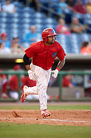 Clearwater Threshers catcher Deivi Grullon (13) runs to first base during a game against the Palm Beach Cardinals on April 14, 2017 at Spectrum Field in Clearwater, Florida.  Clearwater defeated Palm Beach 6-2.  (Mike Janes/Four Seam Images)