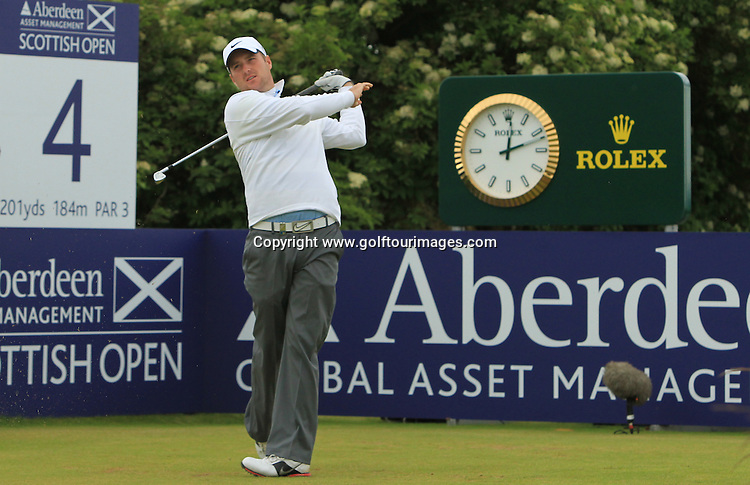 Marc Warren during the 2012 Aberdeen Asset Management Scottish Open being played over the links at Castle Stuart, Inverness, Scotland from 12th to 14th July 2012:  Stuart Adams www.golftourimages.com:12th July 2012