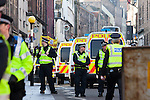 © Joel Goodman - 07973 332324 - all rights reserved . 20/02/2010 . Edinburgh , UK . A Scottish Defence League ( SDL ) demonstration in Edinburgh is disrupted by police and is opposed by Unite Against Fascism ( UAF ) and anti-fascist protesters . Photo credit : Joel Goodman