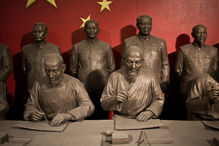 """An artistic view of the Agreement of """"the Central People's Government and the Local government of Tibet"""" on Measures for """"Peaceful Liberation of Tibet"""", also known as the 17-Article Agreement, signed in Zhongnanhai the chinese government headquarters in beijing on 28 May 1951. The sculture was displayed in the Exhibition """"50 Years od democratic development in Tibet"""" in 2009 in the Minorities Palace, Beijing."""