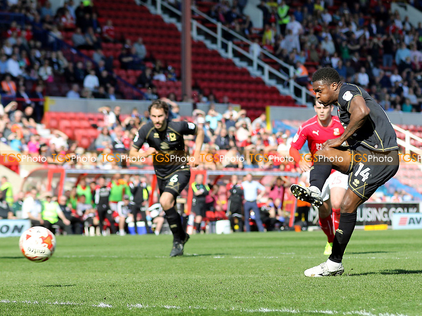Kieran Agard scores MK Dons opening goal from the penalty spot during Swindon Town vs MK Dons, Sky Bet EFL League 1 Football at the County Ground on 8th April 2017