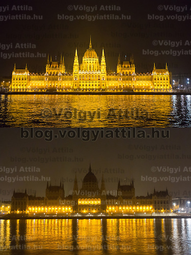 Combination photo of the Hungarian Parliament taken during the Earth Hour before (above) and after (below) the lights went off in Budapest, Hungary on March 23, 2013. ATTILA VOLGYI