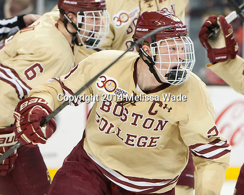 Patrick Brown (BC - 23) celebrates his goal. - The Boston College Eagles defeated the Northeastern University Huskies 4-1 (EN) on Monday, February 10, 2014, in the 2014 Beanpot Championship game at TD Garden in Boston, Massachusetts.