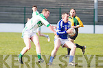 Templenoe's Shane Cremin gets away from Ballydonoghue's Darren Gogarty in the 1st round of the Novice Championship at Ballydonoghue on Saturday