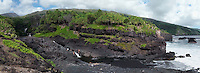 Panoramic view of family fun at the seven pools in Kipahulu at the Ohe'o Gulch in HALEAKALA NATIONAL PARK on Maui in Hawaii USA