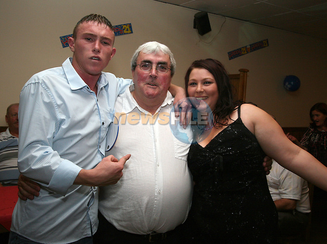 David Byrne with his dad Jim and Stacey Garvey at his 21st in the Rugby Club...Photo NEWSFILE/Jenny Matthews.(Photo credit should read Jenny Matthews/NEWSFILE)....This Picture has been sent you under the condtions enclosed by:.Newsfile Ltd..The Studio,.Millmount Abbey,.Drogheda,.Co Meath..Ireland..Tel: +353(0)41-9871240.Fax: +353(0)41-9871260.GSM: +353(0)86-2500958.email: pictures@newsfile.ie.www.newsfile.ie.FTP: 193.120.102.198.
