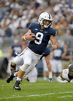 STATE COLLEGE, PA - SEPTEMBER 1:  Penn State QB Trace McSorley (9) runs. The Penn State Nittany Lions defeated the Appalachian State Mountaineers 45-38 in overtime on September 1, 2018 at Beaver Stadium in State College, PA. (Photo by Randy Litzinger/Icon Sportswire)