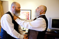 RANDELL (RANDY) SHEPHERD, 48, left, and LARRY DUNCAN, 56, right, from North Bend, Wash., prepare for their wedding in a Seattle hotel room on December 9, 2012, the first day that same-sex marriage was allowed in the state of Washington. The couple have been together for 11 years. Originally from the suburbs of Dallas, Texas, they moved to Washington seven years ago to obtain more gay rights. They got married at 2pm at Seattle First Baptist Church in a group ceremony with 24 other couples.