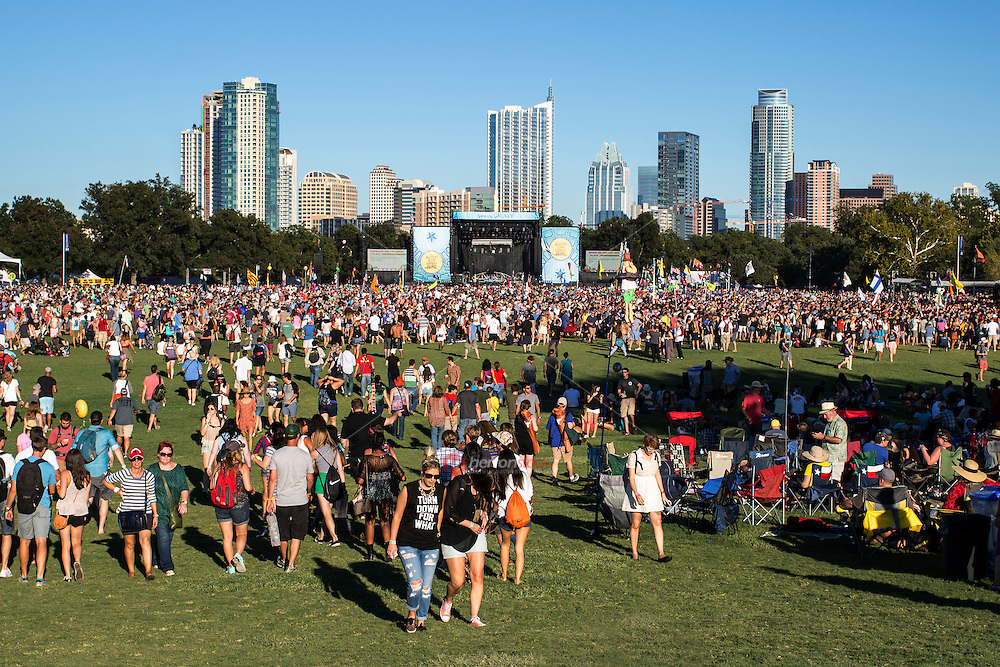 Austin, Texas - October 12: Austin City Limits Music Festival main stage over looking the booming downtown Austin Skyline<br />