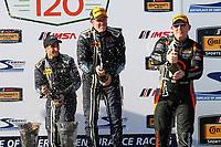 2017 IMSA Continental Tire SportsCar Challenge<br /> Visit Sebring 120<br /> Sebring International Raceway, Sebring, FL USA<br /> Friday 17 March 2017<br /> 60, Ford, Ford Mustang, GS, Jade Buford, Scott Maxwell, podium, champgne<br /> World Copyright: MIchael L. Levitt<br /> LAT Images<br /> ref: Digital Image levitt_seb_0317-15410