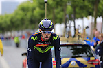 Movistar Team rider at sign on in Dusseldorf before the start of Stage 2 of the 104th edition of the Tour de France 2017, running 203.5km from Dusseldorf, Germany to Liege, Belgium. 2nd July 2017.<br /> Picture: Eoin Clarke | Cyclefile<br /> <br /> <br /> All photos usage must carry mandatory copyright credit (&copy; Cyclefile | Eoin Clarke)