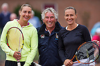 August 17, 2014, Netherlands, Raalte, TV Ramele, Tennis, National Championships, NRTK, Final ladies, Umpire Frank Vrins with left Danielle Harmsen and right Olga Kalyuzhnaya<br />