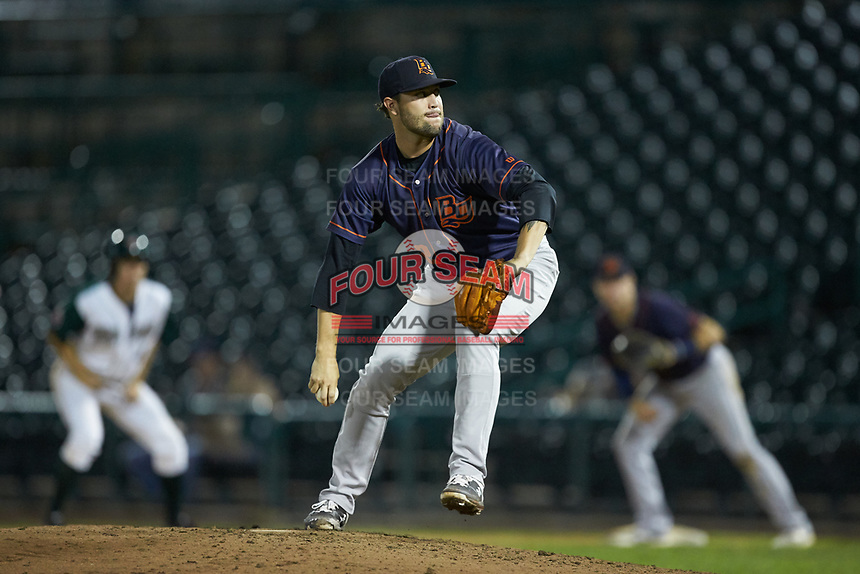 Bowling Green Hot Rods relief pitcher Nicholas Padilla (32) in action against the Fort Wayne TinCaps at Parkview Field on August 20, 2019 in Fort Wayne, Indiana. The Hot Rods defeated the TinCaps 6-5. (Brian Westerholt/Four Seam Images)