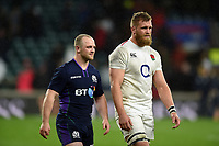 Nick Grigg of Scotland and Brad Shields of England after the match. Guinness Six Nations match between England and Scotland on March 16, 2019 at Twickenham Stadium in London, England. Photo by: Patrick Khachfe / Onside Images