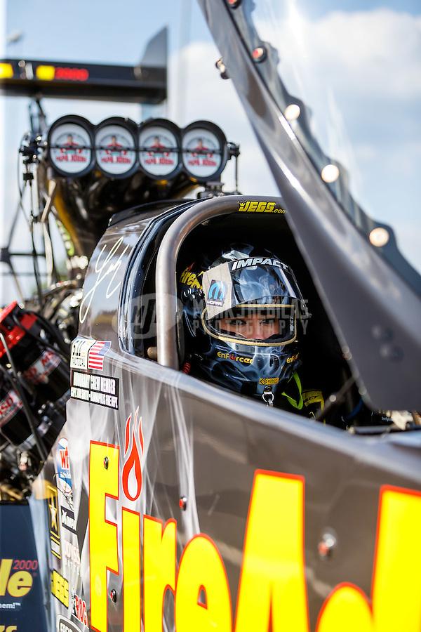 Sep 16, 2016; Concord, NC, USA; NHRA top fuel driver Leah Pritchett during qualifying for the Carolina Nationals at zMax Dragway. Mandatory Credit: Mark J. Rebilas-USA TODAY Sports