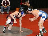 Kyle Piaquadio and Brian Benton wrestle at the 130 weight class during the NY State Wrestling Championships at Blue Cross Arena on March 8, 2008 in Rochester, New York.  (Copyright Mike Janes Photography)