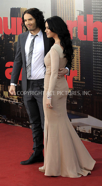 WWW.ACEPIXS.COM . . . . .  ..... . . . . US SALES ONLY . . . . .....April 20 2011, London....Russell Brand and Katy Perry arriving at the European Premiere of Arthur at Cineworld 02 on April 19, 2011 in London....Please byline: FAMOUS-ACE PICTURES... . . . .  ....Ace Pictures, Inc:  ..Tel: (212) 243-8787..e-mail: info@acepixs.com..web: http://www.acepixs.com