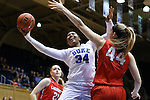 17 December 2015: Duke's Lynee Belton (34) and Liberty's Catherine Kearney (44). The Duke University Blue Devils hosted the Liberty University Flames at Cameron Indoor Stadium in Durham, North Carolina in a 2015-16 NCAA Division I Women's Basketball game. Duke won the game 79-41.