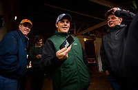 LOUISVILLE, KY - MAY 04: Trainer, Norman Casse jokes with friends at the barn at Churchill Downs on May 04, 2017 in Louisville, Kentucky. (Photo by Alex Evers/Eclipse Sportswire/Getty Images)