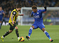 Leicester City's Demarai Gray and Watford's Kiko Femenia <br /> <br /> Photographer Stephen White/CameraSport<br /> <br /> The Premier League - Leicester City v Watford - Saturday 1st December 2018 - King Power Stadium - Leicester<br /> <br /> World Copyright © 2018 CameraSport. All rights reserved. 43 Linden Ave. Countesthorpe. Leicester. England. LE8 5PG - Tel: +44 (0) 116 277 4147 - admin@camerasport.com - www.camerasport.com