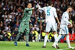 Real Madrid Keylor Navas and Raphael Varane during Semi Finals UEFA Champions League match between Real Madrid and Bayern Munich at Santiago Bernabeu Stadium in Madrid, Spain. May 01, 2018. (ALTERPHOTOS/Borja B.Hojas)