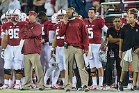 STANFORD, CA - AUGUST 31 2012: Head Coach David Shaw during the Stanford Cardinal 20-17 win over San Jose State.