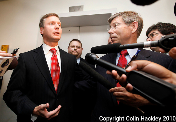 TALLAHASSEE, FLA. 6/17/10-McCOLLUM 61710-Attorney General Bill McCollum, also a republican candidate for governor, right, talks with Rep. Dean Cannon, R-Winter Park, left, and Everett Wilkinson, chairman of the Florida Tea Party, after he filed his campaign papers with the Florida Department of State Thursday in Tallahassee...COLIN HACKLEY PHOTO