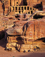 Bedouin horses and horse-wranglers rest at the end of the day below one of the Royal tombs carved into the rock-walls of Petra, Jorda
