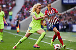 Atletico de Madrid's Jennifer Hermoso and FC Barcelona's Kheira Hamraoui during Liga Iberdrola match between Atletico de Madrid and FC Barcelona at Wanda Metropolitano Stadium in Madrid, Spain. March 17, 2019. (ALTERPHOTOS/A. Perez Meca)