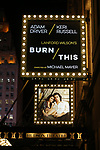 "Theatre Marquee: David Furr, Brandon Uranowitz, Keri Russell, Adam Driver starring in Landford Wilson's ""Burn This""  at Hudson Theatre on April 15, 2019 in New York City."