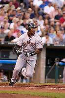 San Francisco Giants left fielder Barry Bonds singles to right during the third inning at Kauffman Stadium in Kansas City, Missouri on June 13, 2003. The Royals won 6-1.
