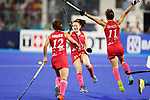 (L to R) <br />  Yuri Nagai, <br />  Hazuki Nagai, <br />  Minami Shimizu (JPN), <br /> AUGUST 31, 2018 - Hockey : <br /> Women's Final match <br /> between Japan 2-1 India  <br /> at Gelora Bung Karno Hockey Field <br /> during the 2018 Jakarta Palembang Asian Games <br /> in Jakarta, Indonesia. <br /> (Photo by Naoki Morita/AFLO SPORT)