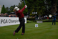 Miguel Angel Jimenez tees off on the opening hole during the final round of the BMW PGA Championship at Wentworth Club, Surrey, England 27th May 2007 (Photo by Eoin Clarke/NEWSFILE)