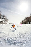 USA, Colorado, Aspen, skiers on Silver Queen, Aspen Ski Resort, Ajax