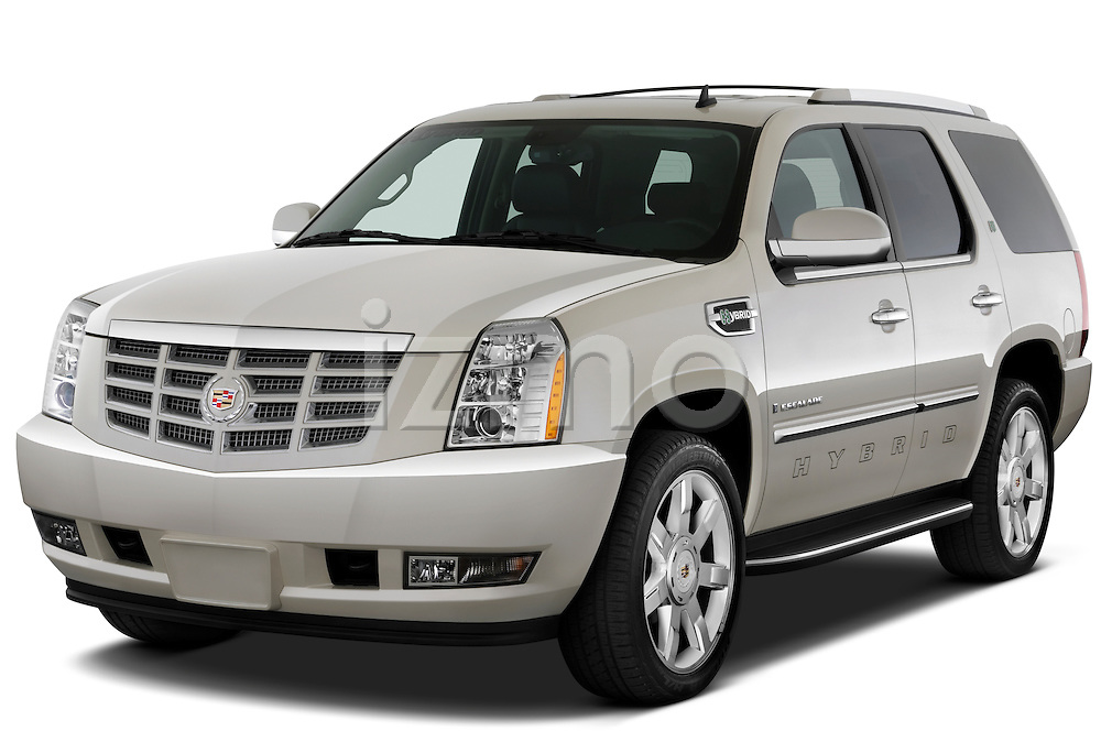 Front three quarter view of a 2009 Cadillac Escalade Hybrid.