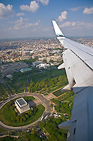 Washington, DC<br /> Aerial view of the Capital Mall &amp; Lincoln Memorial framed by a Boeing 737 wing
