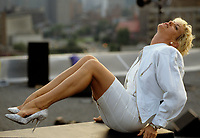 Montreal (Qc) CANADA - Sept 1, 1988 -File Photo -<br /> <br /> Marjo (Marjolaine Morin) pose on the rooftop of Musique Plus new studio , on Sainte-Catherine East in Montreal.<br /> <br /> Marjolaine Morin (born 2 August 1953 in Montreal, Quebec), professionally known as Marjo, is a francophone Canadian singer-songwriter. After singing in two musicals of Francois Guy, Marjo joined the band Corbeau in 1979, two years after the group was started by Pierre Harel.<br /> <br /> Her solo career began shortly after Corbeau disbanded with the theme song for the film La Femme de l'hotel which earned a Genie Award for Best Original Song in 1985. In 1986, her debut album Celle qui va sold more than 250 000 copies.<br /> <br /> -Photo (c)  Images Distribution