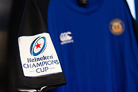 A general view of Heineken Champions Cup branding on a match jersey. Heineken Champions Cup match, between Bath Rugby and Stade Toulousain on October 13, 2018 at the Recreation Ground in Bath, England. Photo by: Patrick Khachfe / Onside Images